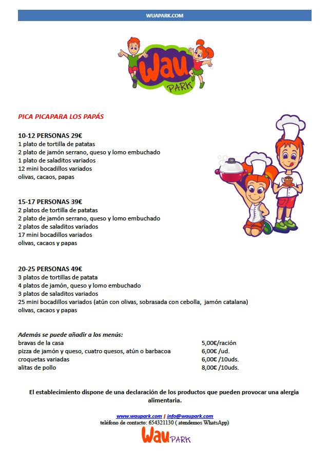 menu primera hoja waupark
